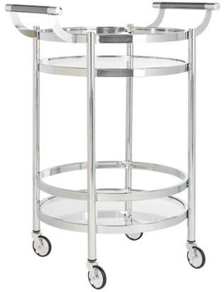 Safavieh Sienna 2 Tier Modern Glam Round Bar Cart with Casters