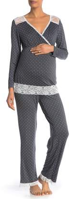Lamaze Intimates Maternity\u002FNursing Long Sleeve Lace Trim 2-Piece Pajama Set (Maternity)