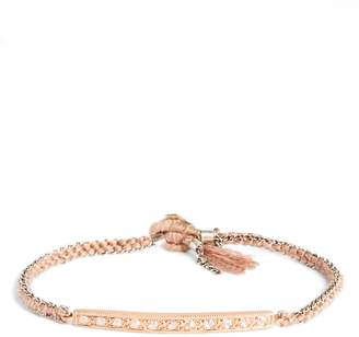 Brooke Gregson Diamond 11 Rose Gold, Silk & Silver Bracelet