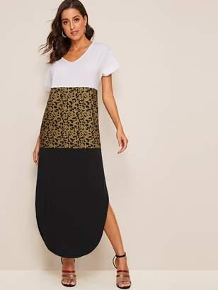 Shein Contrast Leopard Print Curved Hem Tee Dress