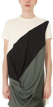 Rick Owens Draped Cotton/silk/leather Beige T-shirt