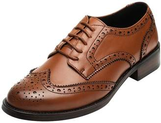 rismart Women's Brogue Pointed Toe Wingtips Work&Wedding Dress Leather Oxfords Shoes 02372(,CA10)