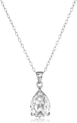 Swarovski Sterling Silver Crystal Pink Teardrop Pendant Necklace