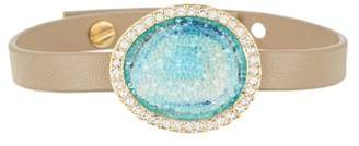 Adore Gold Plated Blue Swarovski Graphic Crystal Inlay & Pave Halo Charm Leather Bracelet