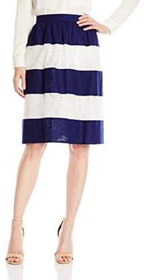 Lark & Ro Women's Lace Linen Stripe Skirt