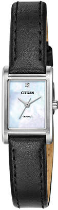 Citizen Women Quartz Black Leather Strap Watch 18x22mm