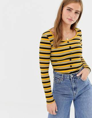 New Look stripe button through top in yellow