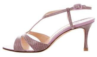 Manolo Blahnik Alligator T-Strap Sandals