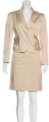 Valentino Satin Pencil Skirt Suit