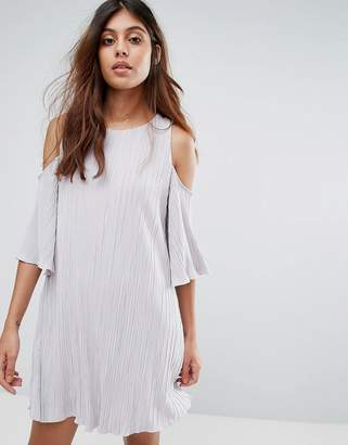 MANGO Cold Shoulder Pleated Dress