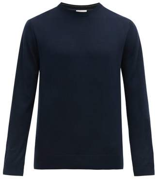 Paul Smith Logo Embroidered Merino Wool Sweater - Mens - Navy