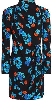 Maje Floral-Print Crepe Mini Dress