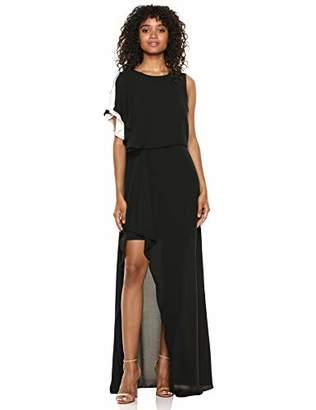 Halston Women's Asymmetric Sleeve Boatneck Gown