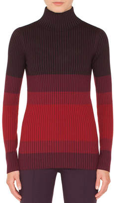 Akris Punto Turtleneck Long-Sleeve Tricolor Ribbed Wool Sweater