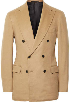 P. Johnson - Sand Slim-Fit Double-Breasted Baby Camel Blazer
