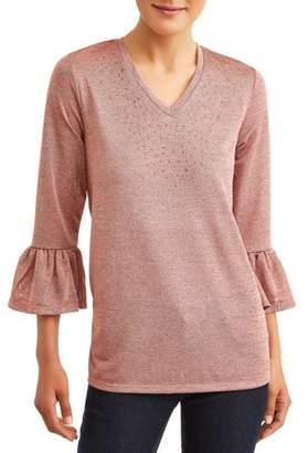 Como Blu Women's Embellished Frill Sleeve Top