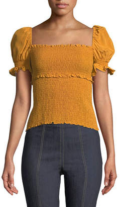 Cinq à Sept Ellis Smocked Short-Sleeve Top