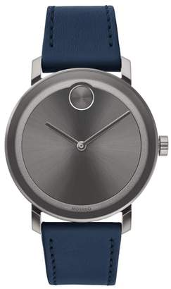 Movado Bold Leather Strap Watch, 40mm