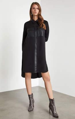BCBGMAXAZRIA Faux Leather-Trimmed Shirt Dress