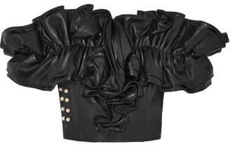 Rodarte Embellished Ruffled Leather Bustier Top - Black