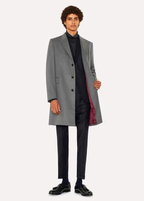 Paul Smith Men's Light Grey Cashmere-Blend Peak-Lapel Epsom Coat