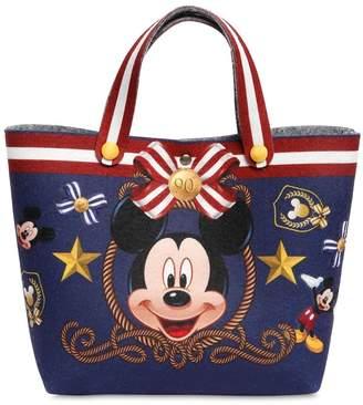 MonnaLisa Mickey Mouse Print Felt Bag