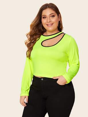 Shein Plus Neon Lime Contrast Binding Asymmetrical Neck Tee