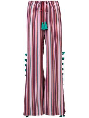 Figue Sayulita tassel-embellished striped palazzo pants