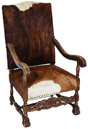 One Kings Lane Vintage Antique Carved Oak & Cowhide Armchair
