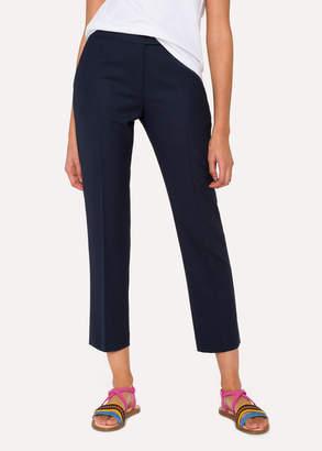 Paul Smith Women's Slim-Fit Navy Wool-Hopsack Pants