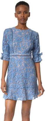 WAYF Rene Tie Sleeve Open Back Lace Mini Dress $99 thestylecure.com