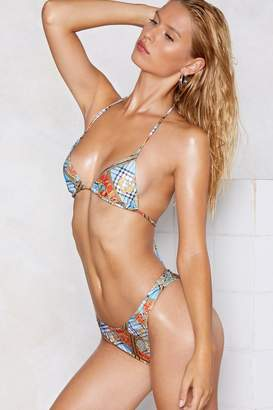 Nasty Gal My Better Scarf Print Bikini Set