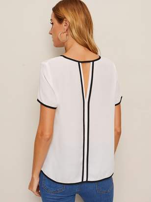 fcfd2ee510bc4c Shein Contrast Piping Trim Cutout Back Blouse