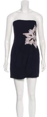 Bill Blass Embellished Strapless Dress Black Embellished Strapless Dress