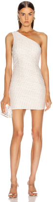HANEY Tinsley One Shoulder Draped Dress in Ivory & Rainbow Lurex Dashes | FWRD