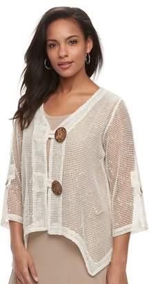 Women's Nina Leonard Sheer Handkerchief Cardigan