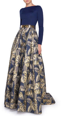 Mac Duggal Ieena for Bateau-Neck Long-Sleeve Pleated Gown w/ Leaf-Print Skirt