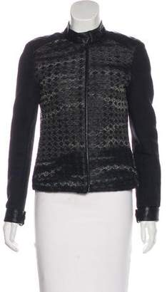 Karl Lagerfeld Leather-Trimmed Casual Jacket