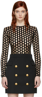 Balmain Black Net Knit Bodysuit