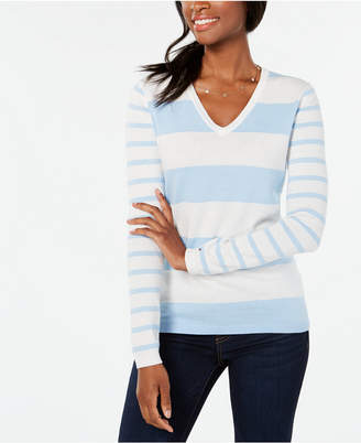 Tommy Hilfiger Cotton Rugby-Stripe V-Neck Sweater
