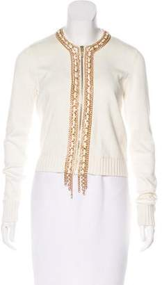 MICHAEL Michael Kors Chain-Accented Zip-Up Sweater