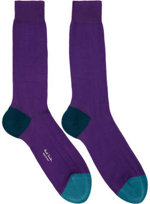 Paul Smith Purple Plain Contrast Socks