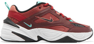 Nike M2k Tekno Leather And Mesh Sneakers - Red