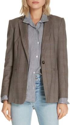 Frame Plaid Wool Blend Blazer