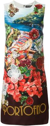 Dolce & Gabbana Portofino print embellished dress