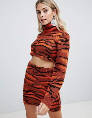 Missguided knitted cropped roll neck in tiger print