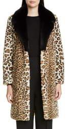 St. John Faux Ocelot Fur Coat