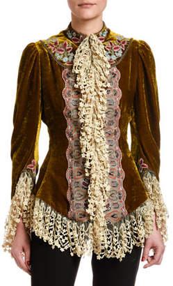 Etro Lace-Trim Velvet Victorian-Embroidered Jacket