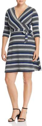 Leota Plus Striped Faux-Wrap Dress