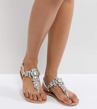 Asos DESIGN FAIRLIGHT Leather Embellished Flat Sandals